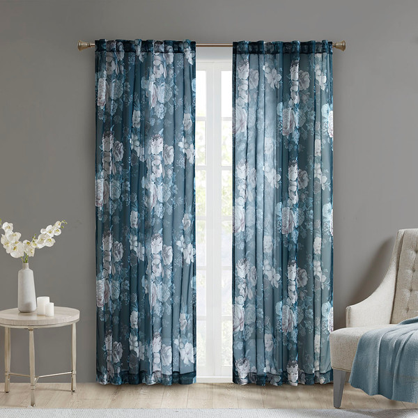 Madison Park Simone 100% Polyester Printed Floral Rod Pocket And Back Tab Voile Sheer- Navy MP40-6622 By Olliix*