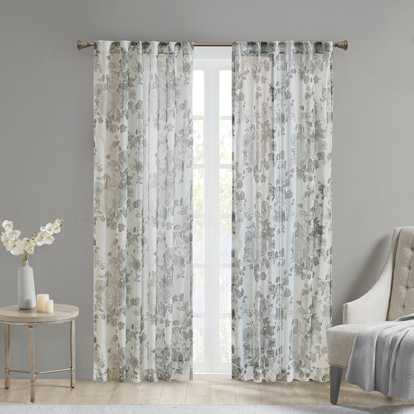 Madison Park Simone 100% Polyester Printed Floral Rod Pocket And Back Tab Voile Sheer- White MP40-6776 By Olliix