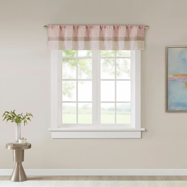 Madison Park Amherst 100% Polyester Polyoni Pintuck Valance- Blush MP41-6760 By Olliix