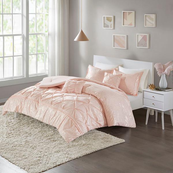 Intelligent Design Adele 100% Polyester Microfiber Metallic Printed 5Pcs Comforter Set - Full/Queen - Blush/Gold ID10-1342 By Olliix