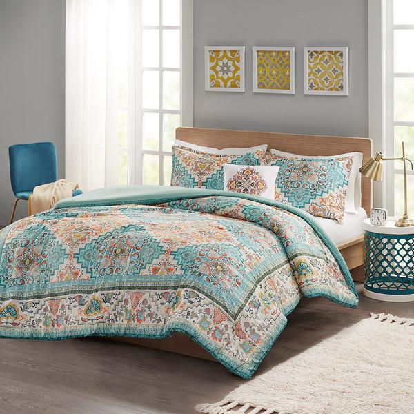 Intelligent Design Deliah 100% Polyester Seersucker Printed Comforter Set - Full/Queen - Teal ID10-1871 By Olliix