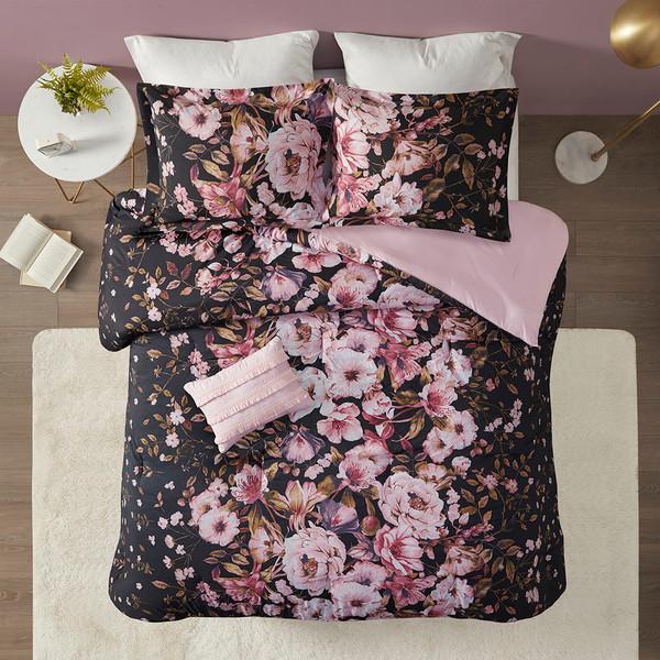Intelligent Design Gabriella 100% Polyester Printed Comforter Set - Twin/Twin XL - Black ID10-1860 By Olliix