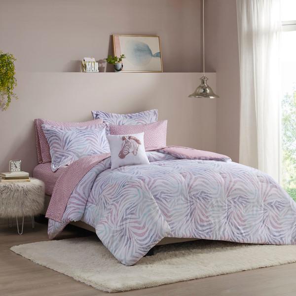 Intelligent Design Nisha 100% Polyester Brushed 8Pcs Comforter And Sheet Set - Full - Lavender ID10-1894 By Olliix