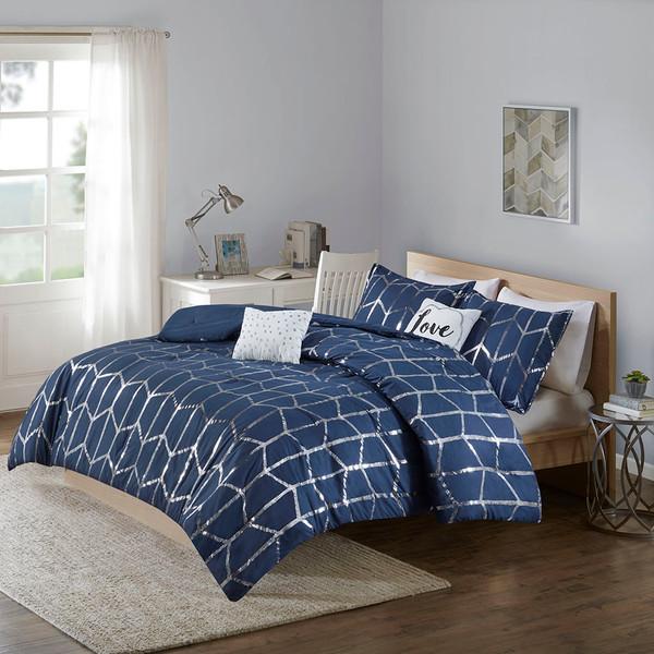 Intelligent Design Raina 100% Polyester Metallic Printed 5Pcs Comforter Set - King/Cal King - Navy/Silver ID10-1813 By Olliix