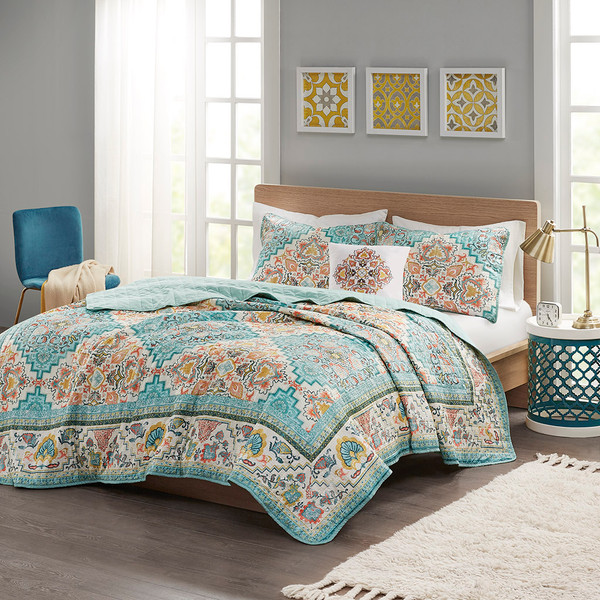 Intelligent Design Deliah 100% Polyester Seersucker Printed Coverlet Set - Twin/Twin XL - Teal ID13-1874 By Olliix