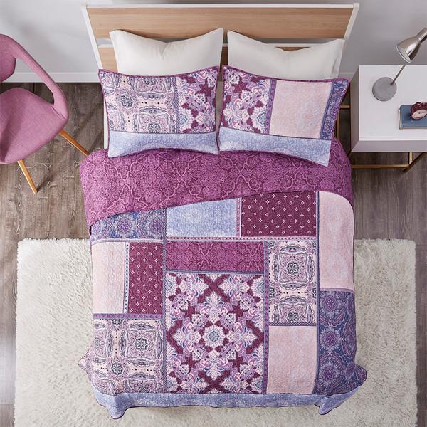 Intelligent Design Ezra 100% Cotton Printed Reversible Coverlet Set - Full/Queen - Purple ID13-1851 By Olliix