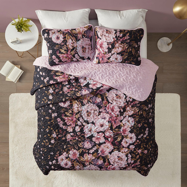 Intelligent Design Gabriella 100% Polyester Printed Coverlet Set - Full/Queen - Black ID13-1865 By Olliix