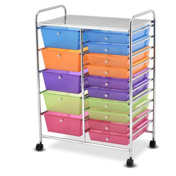 15 Drawers Rolling Storage Cart Organizer HW53825RB