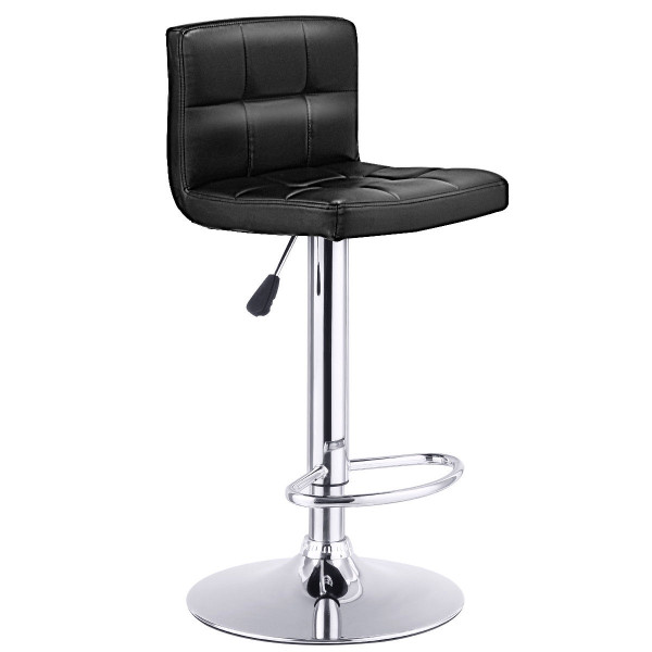 1 Pc Bar Stool Swivel Adjustable Pu Leather Barstools Bistro Pub Chair-Black HW65633BK