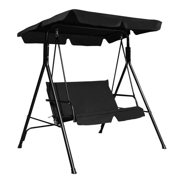 Steel Frame Outdoor Loveseat Patio Canopy Swing With Cushion-Black OP70493BK