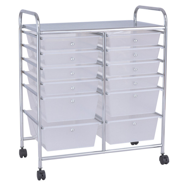 12 Storage Drawer Organizer Bins Rolling Cart HW56500CL