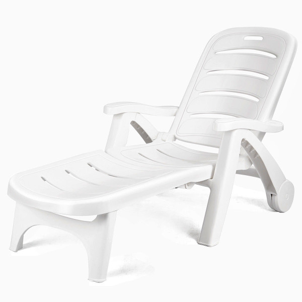 5 Position Adjustable Patio Recliner Chair With Wheels OP70530