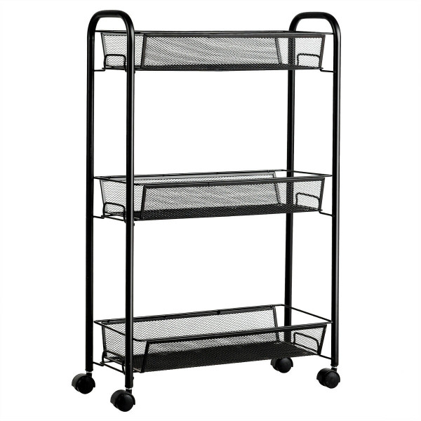 3-Tier Mesh Rolling Cart Mobile Organizer Stand Utility Cart Trolley HW63143BK