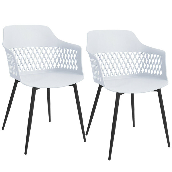 Set Of 2 Modern Hollow Back Dining Chair HW64140WH-2