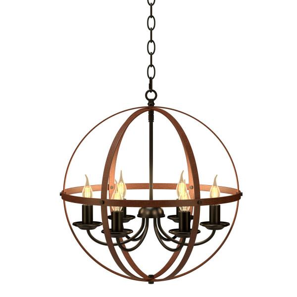 6-Light Orb Chandelier Rustic Vintage Ceiling Lamp EP24536US