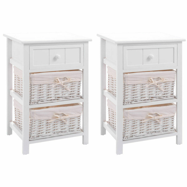 Set Of 2 3 Layer 1 Drawer Wood Bedside End Table-White HW53924WH-2
