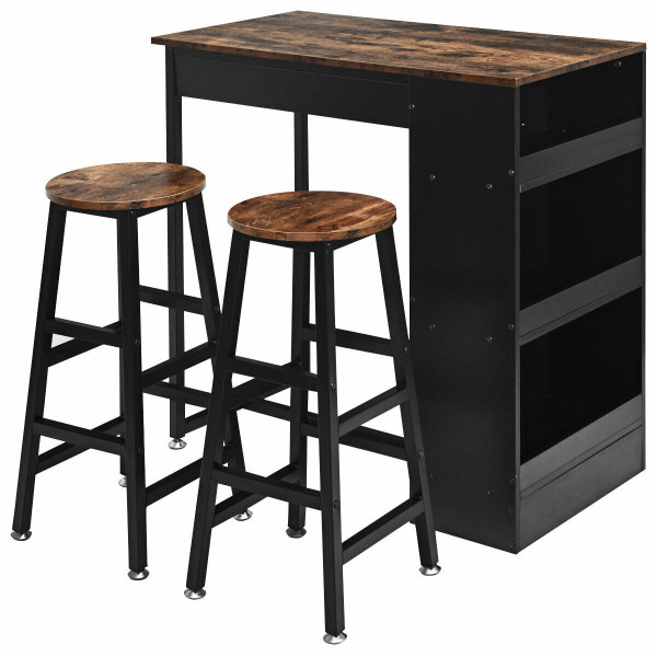 3 Pieces Bar Table Set With Storage HW64298BN