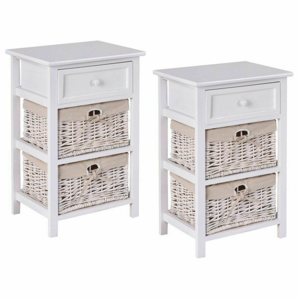 3 Tier Set Of 2 Wood Nightstand With 1 & 2 Basket Drawer -White HW54405WH-2