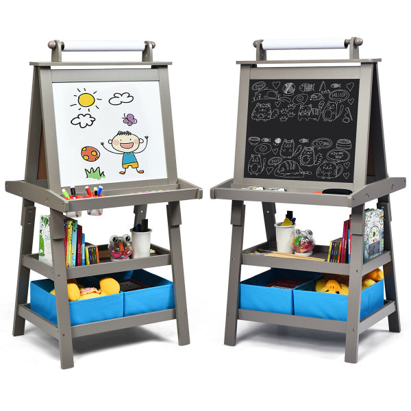 3 In 1 Double-Sided Storage Art Easel-Gray TY327442HS