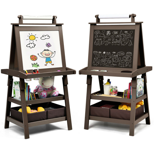 3 In 1 Double-Sided Storage Art Easel-Coffee TY327442CF