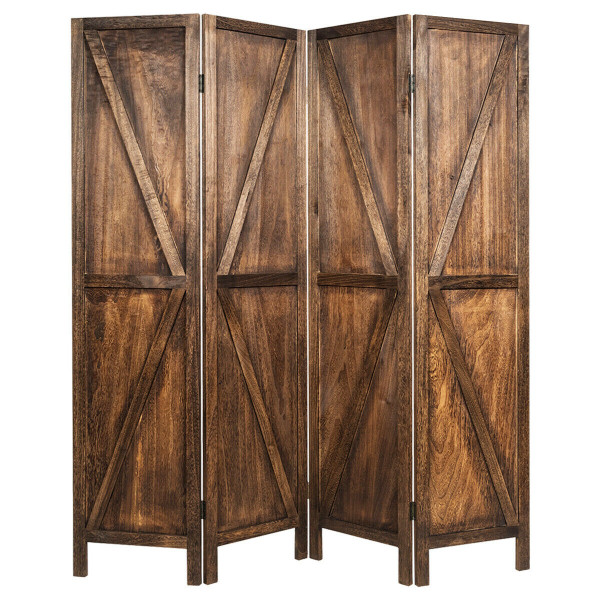 4 Panels Folding Wooden Room Divider-Brown HW65236CF