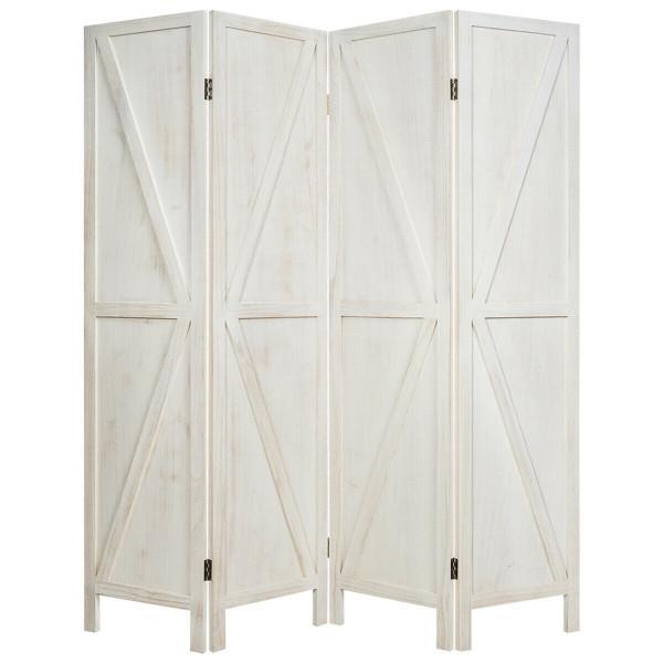 4 Panels Folding Wooden Room Divider-White HW65236WH