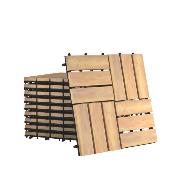 "10 Pcs 12"" X 12"" Acacia Wood Interlocking Check Deck Tiles HW65266"