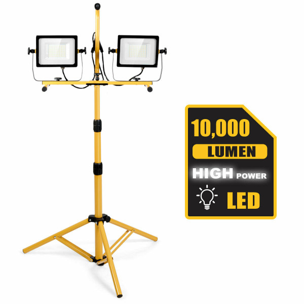 100 W 10 000 Lm Led Dual-Head Work Light With Stand EP24637US