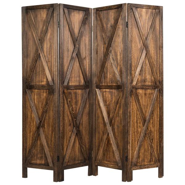 5.6 Ft 4 Panels Folding Wooden Room Divider-Brown HW65237CF