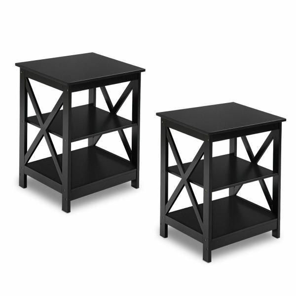 2Pcs 3-Tier Display Storage End Table-Black HW58944BK-2