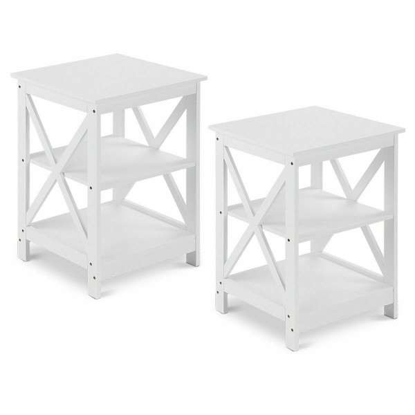 2Pcs 3-Tier Display Storage End Table-White HW58944WH-2