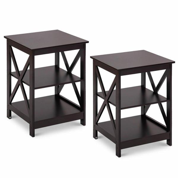 2Pcs 3-Tier Display Storage End Table-Espresso HW58944CF-2