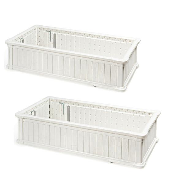 2 Pcs Raised Garden Rectangle Plant Box-White OP70322WH-2