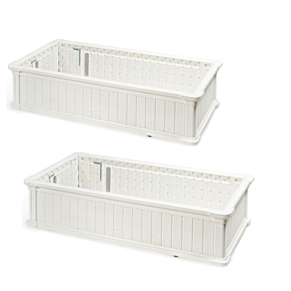 2 Pcs Raised Garden Rectangle Plant Box-White OP70322WH-2