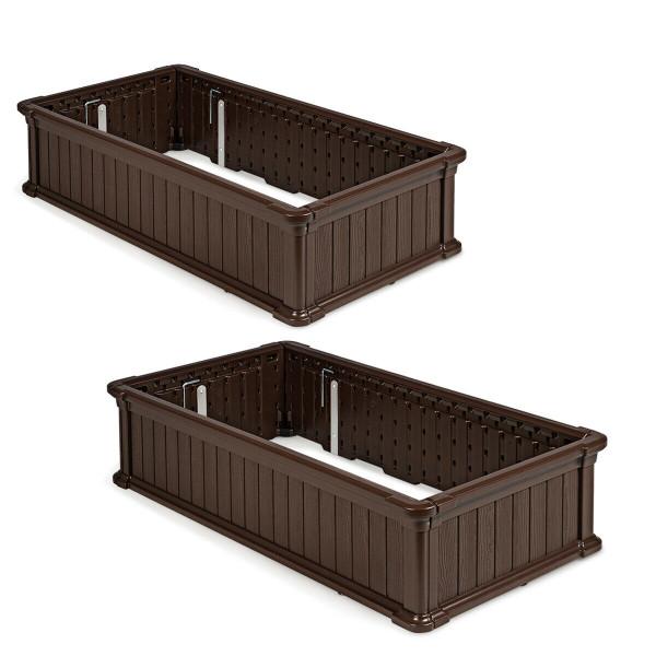 2 Pcs Raised Garden Rectangle Plant Box-Brown OP70322BN-2
