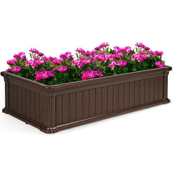 2 Pcs Raised Garden Rectangle Plant Box-Brown OP70321BN-2