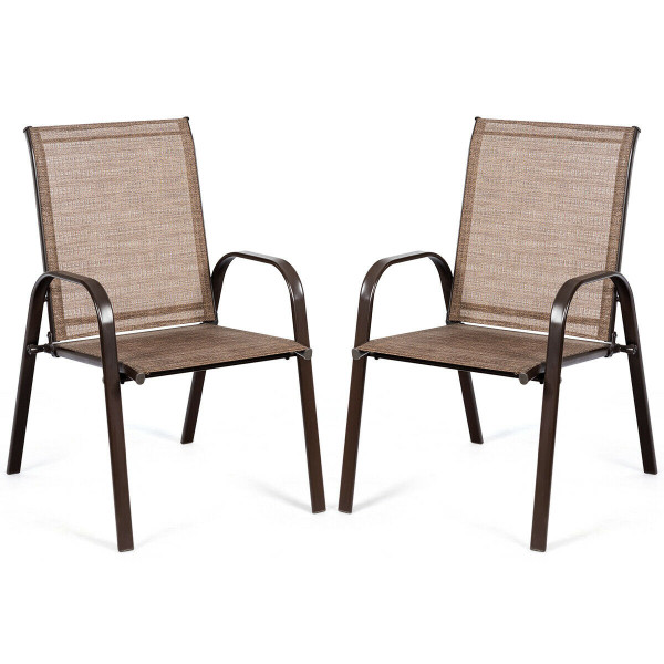 2 Pcs Patio Chairs Outdoor Dining Chair With Armrest-Brown HW63630BN-2
