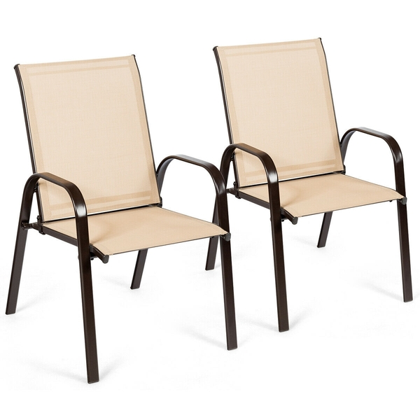 2 Pcs Patio Chairs Outdoor Dining Chair With Armrest-Beige HW63630CF-2