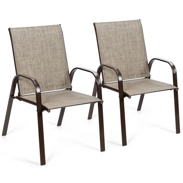 2 Pcs Patio Chairs Outdoor Dining Chair With Armrest-Gray HW63630GR-2