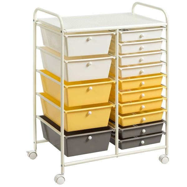 15-Drawer Storage Rolling Organizer Cart-Yellow HW53825YE