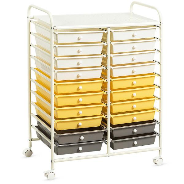20 Drawers Storage Rolling Cart Studio Organizer-Yellow HW56501YE
