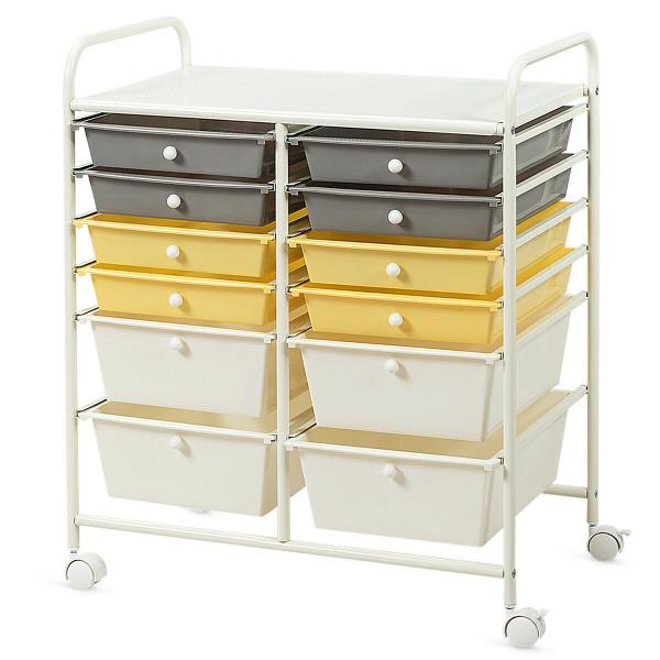 12 Drawers Rolling Cart Storage Scrapbook Paper Organizer Bins-Yellow HW56500YE