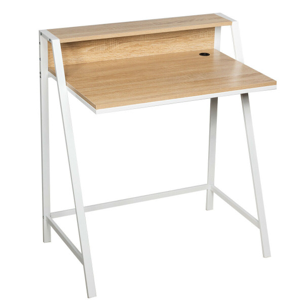2 Tier Home Office Study Workstation Computer Desk-Natural HW65629NA