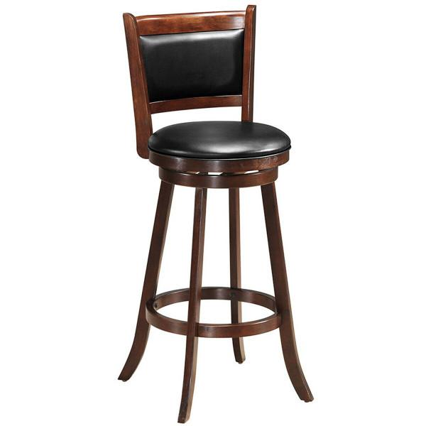 "29"" Swivel Bar Height Stool Wooden Upholstered Dining Chair HW65284"