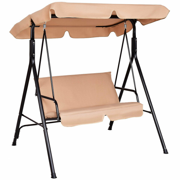 Loveseat Cushioned Patio Steel Frame Swing Glider -Beige OP70493ZS