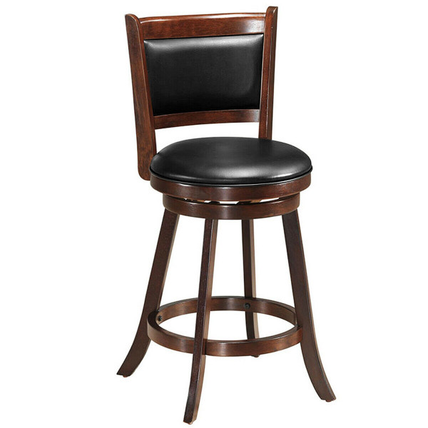 """24"""" Wooden Upholstered Swivel Counter Height Stool Dining Chair HW65283"""