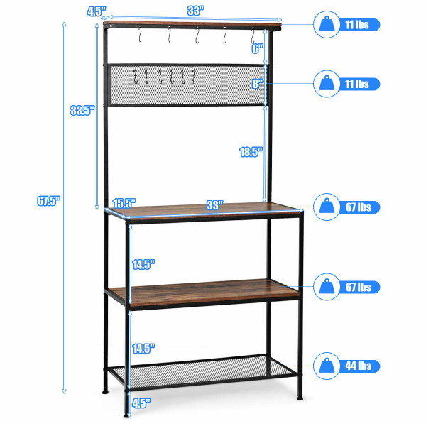 4-Tier Kitchen Rack Stand With Hooks & Mesh Panel HW65141