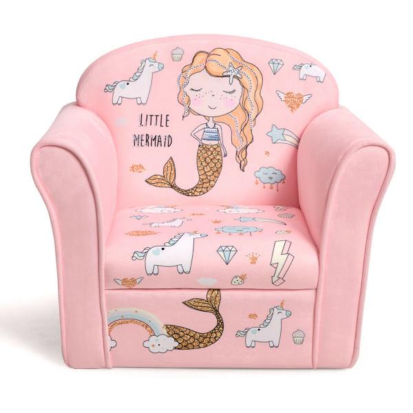 Kids Mermaid Armrest Couch Upholstered Sofa HW65602