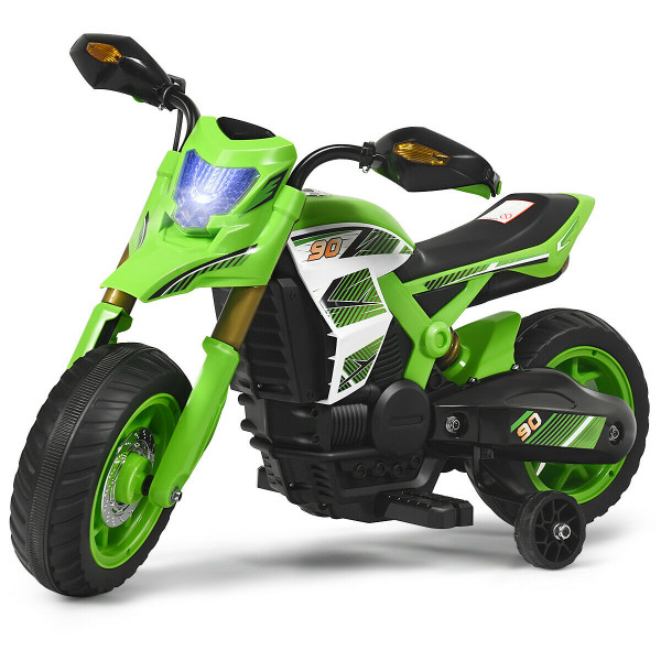 6V Electric Kids Ride-On Battery Motorcycle With Training Wheels -Green TY327684GN