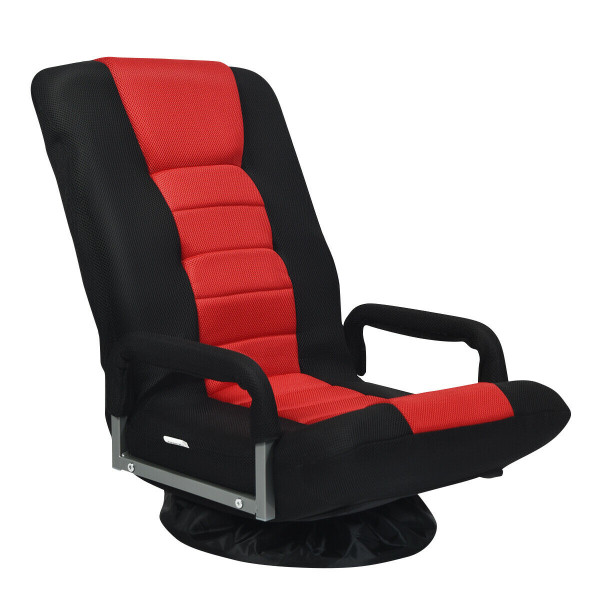 360-Degree Swivel Gaming Floor Chair With Foldable Adjustable Backrest-Red HW65937RE